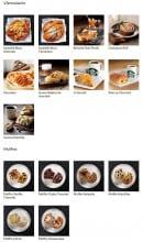 Menu Starbucks coffee - Les viennoiseries et muffins