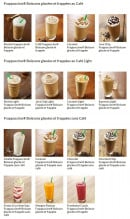 Menu Starbucks coffee - Les frappuccinos
