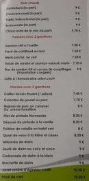 Menu L' Abel Auberge - Plats chauds, poissons et viandes