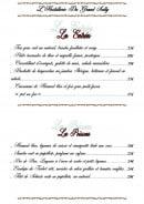 Menu Hostellerie du Grand Sully - Les entrées et poissons