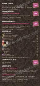 Menu Le Rococo - Les jus de fruits, smoothies,.....