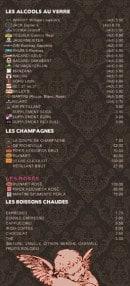 Menu Le Rococo - Les alcools, champagnes,.....