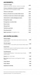 Menu Faubourg Café - Les desserts et coupes glaces