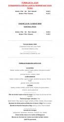 Menu Faubourg Café - Les formules