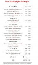 Menu Faubourg Café - Les vins