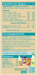Menu Made In France - Les sandwiches  tipiques, accompagnements,...