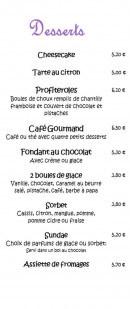 Menu Chez Nous - Desserts