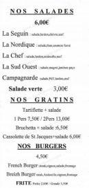 Menu Pizzas San Marco - Les salades, gratins et burgers