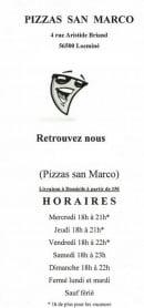 Menu Pizzas San Marco - Carte et menu Pizzas San Marco Locmine