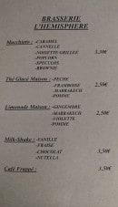 Menu L'hémisphère - Macchiato, thé glacé maison, limonade,...