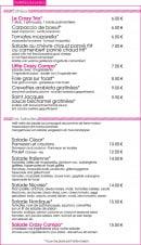 Menu Crazy Lounge - Les entrées et salades