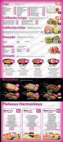 Menu Sushi Tori - Les yukis, les californias crispy,....