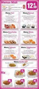 Menu Sushi Tori - Les menus midi et les riz
