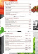 Menu Le Venezia - les salades, les entrées froides et chaudes