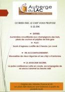 Menu L'auberge du Lac - Exemple de menu a 22€50