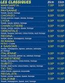 Menu Pizza Tic Tac - Les pizzas classiques
