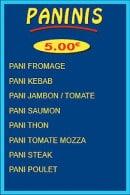 Menu Pizza Tic Tac - Les paninis