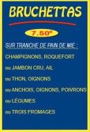 Menu Pizza Tic Tac - Les bruchettas