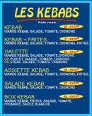 Menu Pizza Tic Tac - Les kebabs
