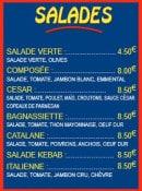Menu Pizza Tic Tac - Les salades