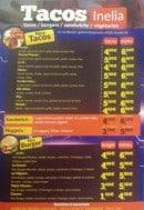 Menu Inélia - Les tacos, les burgers ...