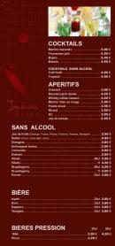 Menu Totoro - Les cocktails, apéritifs,....