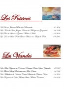 Menu La Péniche - Poissons et viandes