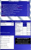 Menu Azzurra Express - Les entrees et desserts