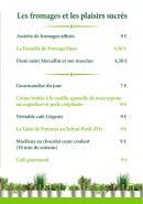 Menu Le Jardin Gourmand - Fromages et desserts