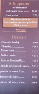 Menu Le Latino - les desserts