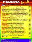 Menu Pizzeria La 18 - Les pizzas et boissons
