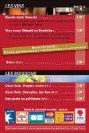 Menu Top Pizza - Les vins et boissons