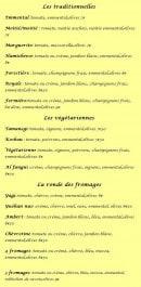 Menu Marie Sol Pizza - Les pizzas: traditionnelles, les végétariennes et les fromages