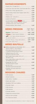 Menu Brasserie des Européens - Les boissons fraîches, bières et boissons chaudes