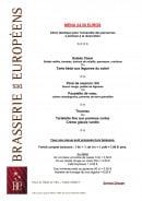 Menu Brasserie des Européens - Le menu à 24,5€
