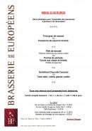 Menu Brasserie des Européens - Le menu à 33,5€