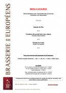 Menu Brasserie des Européens - Le menu à 21€