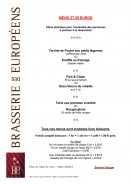 Menu Brasserie des Européens - Le menu à 27,5€