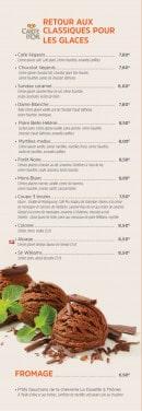 Menu Brasserie des Européens - Les glaces et fromage