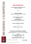 Menu Brasserie des Européens - Le menu à 27€