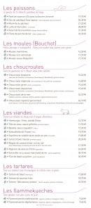 Menu La Taverne de Maitre Kanter - Poissons, moules, choucroutes,...