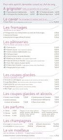 Menu La Taverne de Maitre Kanter - A grignoter, fromages, pâtisseries,...
