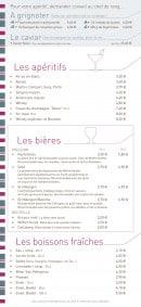 Menu La Taverne de Maitre Kanter - Apéritifs, bières, boissons,...
