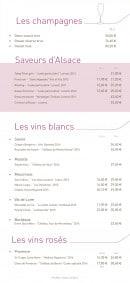 Menu La Taverne de Maitre Kanter - Champagne, saveur d'alsace et vins