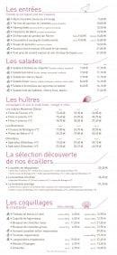 Menu La Taverne de Maitre Kanter - Entrées, salades, huîtres,..