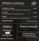Menu L'Escapade - burgers, formules