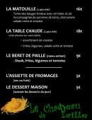 Menu Le chapeau de paille - Les plats et desserts