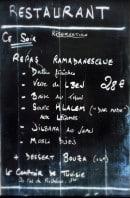 Menu Le Comptoir de Tunisie - exemple de menu