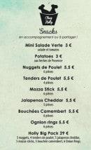 Menu Chez Holly - Les snaks
