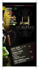 Menu Le Mirage - Les formules